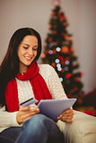 Pretty brunette shopping online with tablet at christmas
