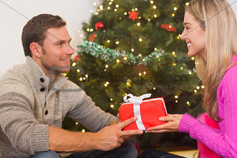 Sitting couple giving each other presents