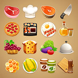 Food and Kitchen Accessories Icons Set1
