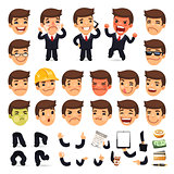 Set of Cartoon Businessman Character