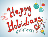 Happy holidays postcard hand drawn design
