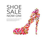 Fashion poster of women multi color shoes
