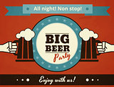 Textured poster of big beer party