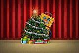 Toy robot happy with christmas tree and presents