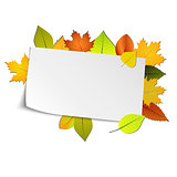 Autumn card with colored leaves in background