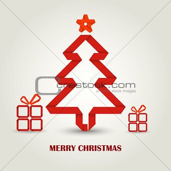 Christmas card with folded paper red Christmas tree