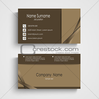 Modern sample brown business card template