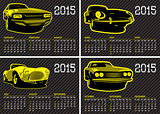 vector calendar template with cars carbon background