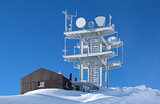 Communication antenna tower in the high mountains