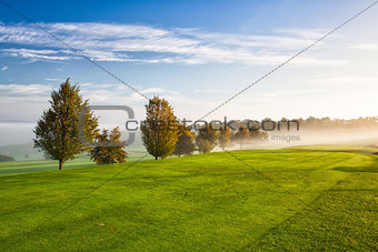 On the empty golf course in the morning mist