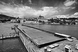 View on the spring Prague gothic Castle and big tugboat, Czech R
