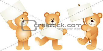Three teddy bears with signboards