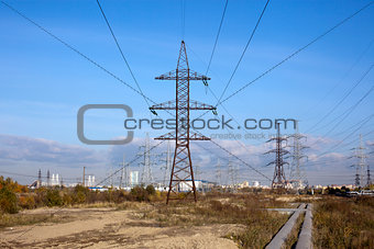 Power line and blue sky