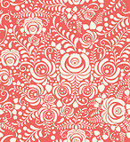 White and pink seamless pattern in Russian style gzhel