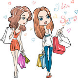 Vector fashion cute girls