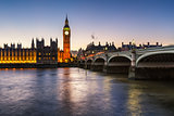 Big Ben, Queen Elizabeth Tower and Wesminster Bridge Illuminated