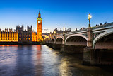 Big Ben, Queen Elizabeth Tower and Wesminster Bridge Illuminated