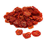 Dried tomatoes on white background.
