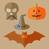 Flat scull, pumkin, hat and bat