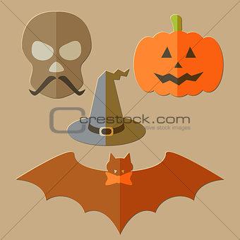 Flat scull, pumkin, hat and bat
