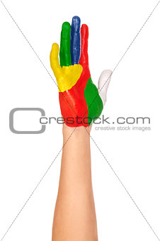 a painted hand in yellow, green, blue, red, white