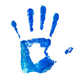 blue handprint on an isolated white background