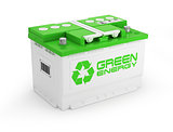 Car battery on white background. Green energy concept