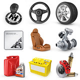 Set of parts of car. 3d render icons.