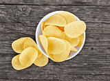 chips in a plate on a wooden background