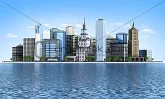 City skyscraper on the coast of the river.