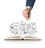 hand drawing business concept and open book