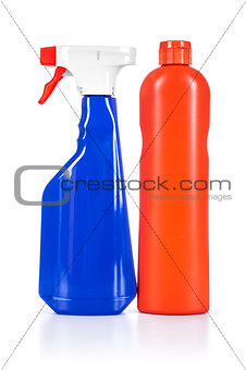 blue and orange cleaner on an isolated white background