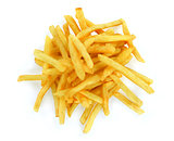 top view of french fries on white background
