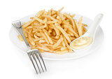 bowl of french fries or chips, isolated on white