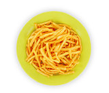 bowl of french fries or chips, isolated on white with clipping path provided