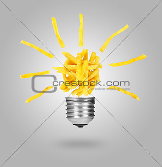 Potatoes fries like lamp bulb, foob concept