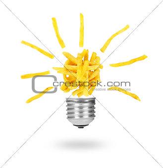 Potatoes fries like lamp bulb