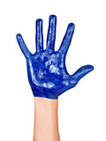 hand with blue paint on it isolated on a white background