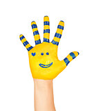 image of an open hand yellow with blue stripes and a pretty smal