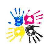 handprints yellow, blue, pink and black on an isolated white bac