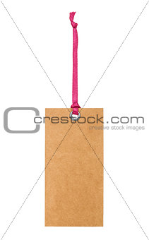 cardboard tag with pink ribbon and bow isolated on white backgro