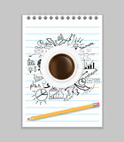 Open notebook with drawing business strategy plan concept idea, pencil and cup of coffee on the desk, Vector illustration modern template design