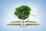 book of nature with grass and tree growth on it over white blue