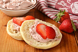 Strawberry cream cheese on an English Muffin