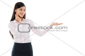 Asian business woman palm holding something
