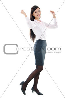 Asian office lady cheering