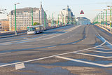 empty highway in the city center and the lone trolley