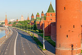 road along the walls of Moscow Kremlin