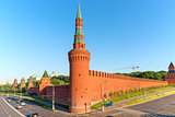 brick wall of Moscow Kremlin and corner tower