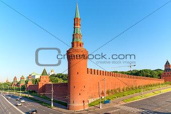 brick wall of Moscow Kremlin and corner tower